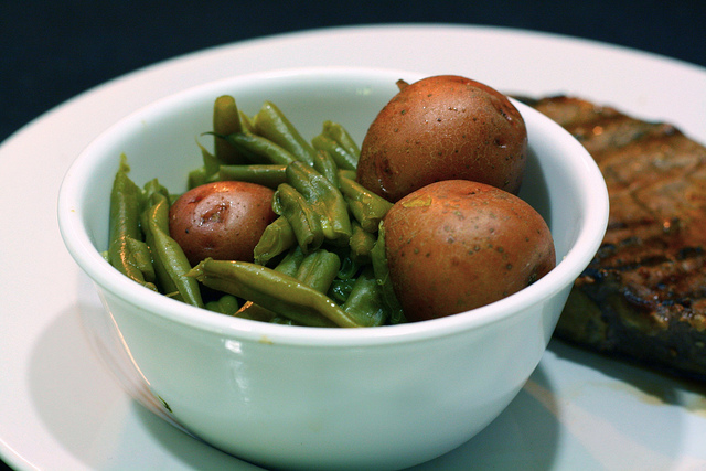 country cooked green beans with new potatoes