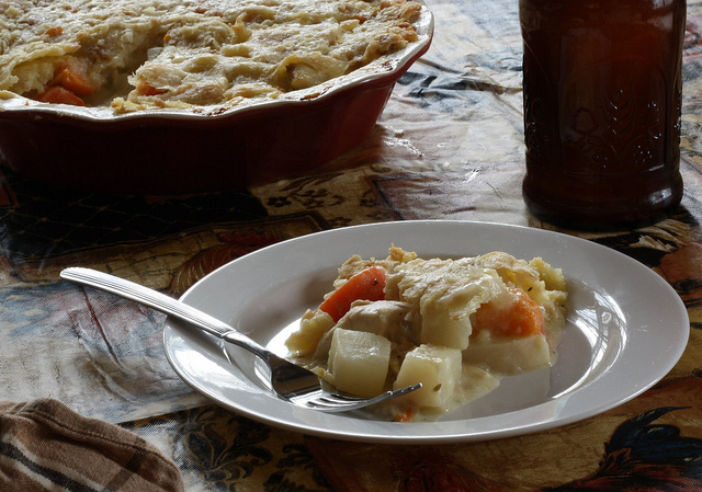 chicken and roasted root vegetable pot pie