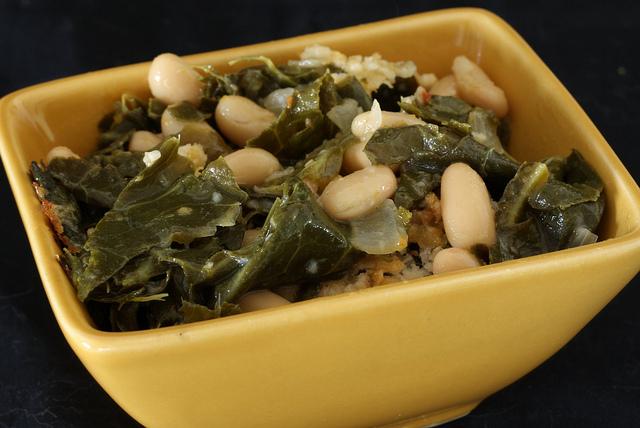 collard greens and white bean gratin